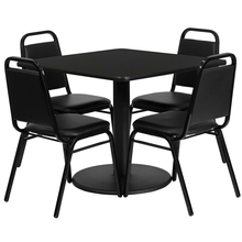 Flash Furniture 36'' Square Black Laminate Table Set with 4 Black Trapezoidal Back Banquet Chairs [863-RSRB1009-GG]()