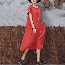 Buy Plus Size 5XL Women Summer Dress 5XL Loose Cotton Linen Square Neck Short Sleeve Big Dress Casual Beach Party Vestidos Feminieze for $12.00 in AliExpress store