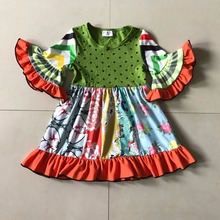 Novel Fall 100% Cotton Kid's Orange Ruffle 3/4 Flare Sleeve Dress And Baby Girl's and Dots Print Apparel Accessory For Present(China)