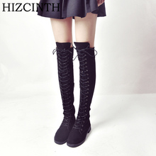 Buy HIZCINTH 2017 Winter Boots Flats Long Boots Round Head Lace-up Knee-high Boots Side Zipper Suede Motorcycle Boots Women's Shoes for $36.99 in AliExpress store