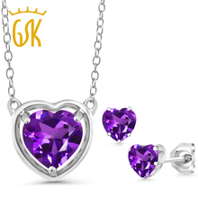 GemStoneKing 3.10 Ct Heart Shape Natural Purple Amethyst Fine Jewelry 925 Sterling Silver Gemstone Pendant Necklace For Women(China)