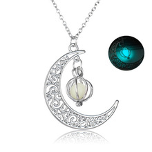 2017 new fashion Glow In the dark Necklace Moon Hollow with ball Pendant Necklace Valentine's Day Gift for Women