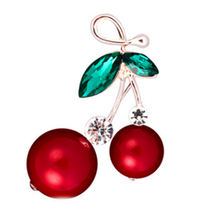 Enamel  Red Double Cherry Brooch  For Girl Kids Cute Fruit Broches Hijab Scarf Pins Dress Hat Clip Bijoux Jewelry
