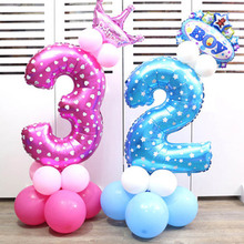 1 Pcs 32 inch pink blue Number foil Balloons Digit Helium Ballons Birthday Party Wedding Decor Air Baloons Event Party Supplies(China)
