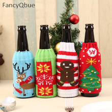 1 PCS Wine Bottle Cover Cute Christmas Sweater for Wine Bottles Dinner Table Decoration Clothes Home Party Decor(China)
