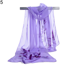 Women Fashion Chiffon Georgette Long Shawl Flower Print Summer Sun Block Scarf(China)