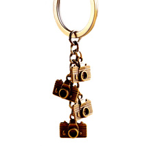 Mini Camera Keyring Punk Style Pure Handmade Men Women Couple Keychain Alloy Key Ring Jewelrys Kay Chain(China)