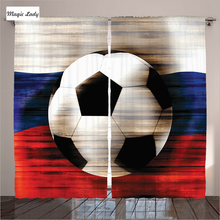 Curtains Games Football Russian Flag Living Room Soccer Speed Goal Champions Ball Team Victory Bedroom Green White 290*265 cm