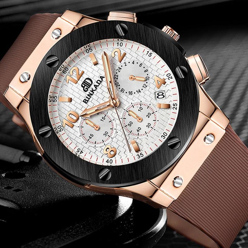 BINKADA Men Rubber Strap Chronograph Rose Gold Watch Luxury Brand Casual Wrist Watch Men Quartz-watch Relojes<br>