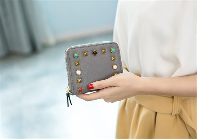MJ Women Wallets Fashion Colorful Rivets PU Leather Zipper Coin Purse Card Holder Short Wallet with Chain Shoulder Strap (40)