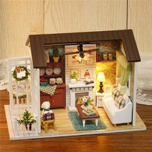Modern Happy Times Wood Dollhouse Miniature LED Light Assembled Home Room Set DIY House Handicraft Toy Idea Gift Ornament(China)