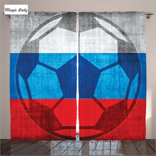 Curtains Games Football Russian Flag Living Room Soccer Grunge Goal Champions Ball Silhouette Victory Bedroom White 290*265 cm