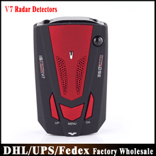 DHL Fedex UPS 10pcs/lot Car Radar Detector V7 With Alarm Global Position System English Russia(China)
