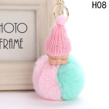 Cute Sleeping Baby Doll Keychain Double Color Pompom Faux Fur Ball Key Chains Car Keyring Women Key Holder Bag Pendant(China)