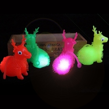 1Piece LED Light Squeeze Anti Stress Toys Flush Deer Flash Ball Elasticity Funny Toys For Children Luminous Toys Color Random(China)