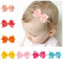 20colored 3 inch kids Boutique Elastic Hair Bow Tie Headband DIY Bow-knot Grosgrain Ribbon Girls Hair Bands Hair Accessories 707(China)