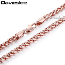 Davieslee Mens Womens Necklace Rose Gold Filled Chain Wheat Spiga Link Wholesale Vintage Jewelry 4mm LGN255(China)