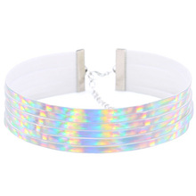 Multilayers PU Leather Choker Necklace Gift for Women Holographic Choker Harajuku Anime Laser Collar Chocker Fashion Jewelry(China)