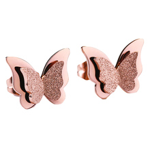 Stainless Steel Earrings For Women Girls Rose Gold Color Frosted Double Butterfly Earrings Studs Best Jewelry Gift EAR2076(China)
