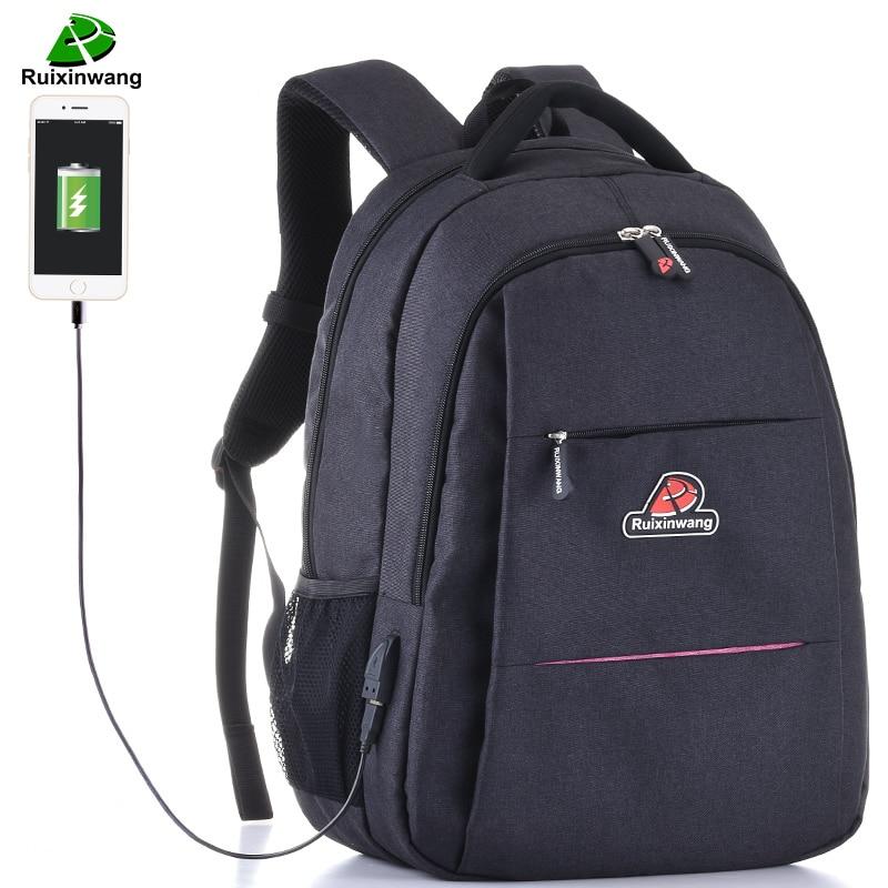 Ruixinwang Feminine Backpak USB Charging Bags For Men Mochila Laptop Bags Shool Bags For Teenagers Mochila Women backpack<br>