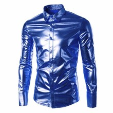 2017 Novelty Fancy Shirts Men Stylish Shiny Casual Shirts Long Sleeve Buttons Up Party Dress Shirt Night Club Wear Autumn Spring(China)