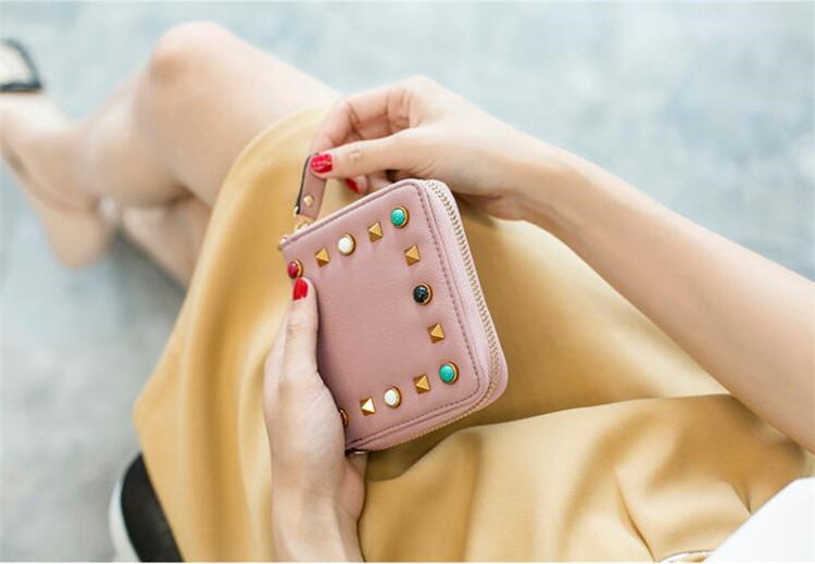 MJ Women Wallets Fashion Colorful Rivets PU Leather Zipper Coin Purse Card Holder Short Wallet with Chain Shoulder Strap (31)