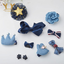 10 piece Kids Cute Headwear Satin Flowers Headband Full Cover Clips Girls Hair Accessories Styling Decorations