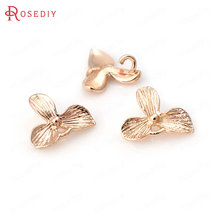 6PCS 11x10MM 24K Champagne Gold Color Plated Brass Leaves Charms Clover Charms High Quality Diy Jewelry Accessories