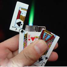 TOYZHIJIA Hot 1pc electric shock lighter Creative Butane gas Lighter Cigarette plastic Poker Lighter Gag Toys Trick Toys(China)