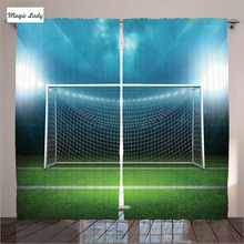 Blackout Curtains Living Room Bedroom Soccer Goal Sports Winner Loser Team Game Gym Green Blue Decor 2 Panels Set 145*265 sm