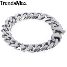Buy Trendsmax Matte Brushed Polished Bracelet Mens Chain 316L Stainless Steel Cut Curb Cuban Link Silver Tone 14.5mm KHBM109 for $7.29 in AliExpress store