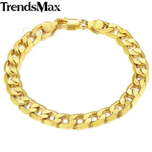 Trendsmax 8mm 18cm 20cm Mens Bracelet for Women Curb Cuban Link Chain Gold Filled Jewelry GB09(Hong Kong)