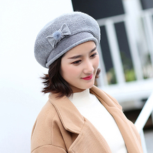 Fashion Women Bowknot Solid Color Warm Winter Outdoor Beret Hat Cap Xmas Gift(China)