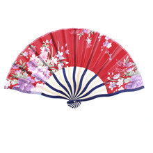 Uxcell Bamboo Non-Slip Handle Nylon Flowers Printed Foldable Hand Fan Red . | beige | black | blue | fuchsia | pink | purple |