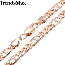 Trendsmax 18-36inch Optional 6MM Womens Mens Chain Unisex Marina Figaro Link Rose Gold Filled GF Necklace Gift GN338(Hong Kong)