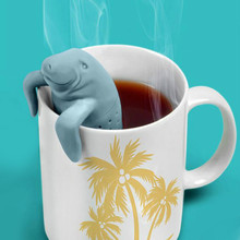 100% Food Safe Manatee Tea Infuser Cute Animal Shape Silicone Manatee Mana Tea Strainers Safety High Quality Rubber(China)