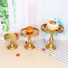 3PCS Metal Top Cake Stand Cupcake Display Tower With Crystal Pendant Party Dessert Serving Holder Wedding Decorations Bakeware(China)