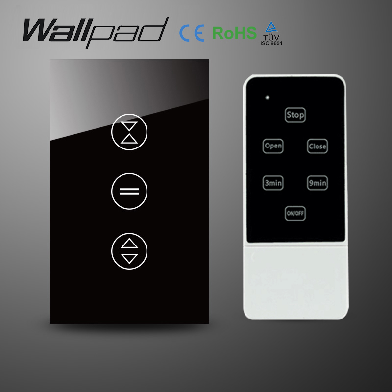 AU US Black Crystal Glass RF Remote Control Touch Curtain Switch AC 110-240V Wireless remote control Blind Switch Free Shipping<br>