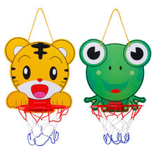 Top Sale Lovely Cartoon Portable Plastic Basketball Hoop Kids Indoor Sports Hanging Basketball Hoop with Ball Children Toys Set(China)