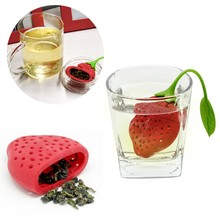 Lovely Fruit Strawberry Shape Silicone Tea Herbal Spices Leaf Infuser Strainer For Loosing Leaf Tea In Teapot(China)