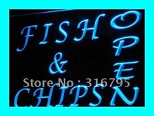 i174 OPEN Fish Chips Cafe Restaurant LED Neon Light Sign On/Off Switch 7 Colors 4 Sizes