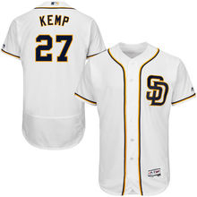 MLB Men's San Diego Padres Matt Kemp Baseball Home White Flex Base Authentic Collection Player Jersey(China)