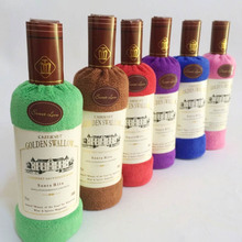 2017 Creative Red Wine Bottle Shape Washcloth Towel Gift Bath Shower Face Soft Cotton Bath Towel Gift Wedding Cake Gift(China)