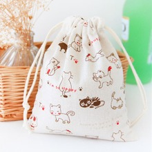 Cotton Linen Drawstring Storage Bag Small Beam Rope Pouches Home Decor Handbags Large Capacity Handmade Gift Bag(China)