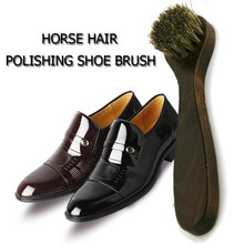 Wooden Handle Horse Hair Shoe Brush Cleaning and Polishing Wipe For Leather Shoes Shine Polish Buffing Brushes Cleaner 6.63in