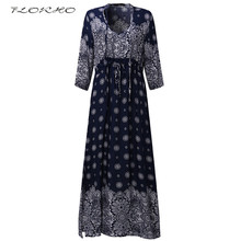 New Autumn Women Long Maxi Dress Plus Size Elegant Vintage Oriental Style Shift Shirt Dress Half Sleeve Ladies Loose Robe 5XL(China)