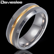 Davieslee Gold Silver Stripe Band Ring Mens Boys Wedding Engagement Tungsten Carbide Silver Black 8mm DTRM01(China)