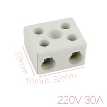 UXCELL Wire Connector 2 Position Dual Row Ceramic Terminal Block 220V 30A(China)