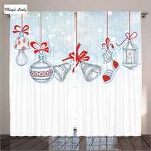 Nursery Room Curtains Living Room Bedroom Vintage Style Stocking Toys Candy Cane Bells Art White Red 2 Panels Set 145*265 sm