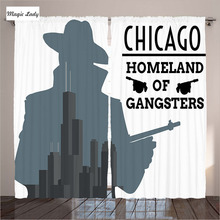 Modern Curtains Designs Chicago Gangsters Mafia Tommy Gun Homeland Criminal Retro Art Living Room Bedroom White 290x265 cm home